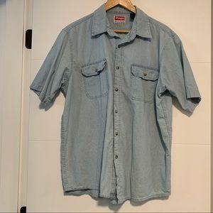Wrangler   Light Denim Button Up Tee Shirt